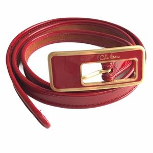 Cole Haan Smooth Patent Red Leather Belt
